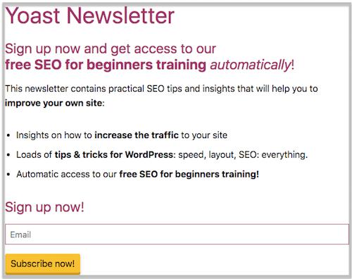 Anche Yoast ha una newsletter molto interessante da seguire