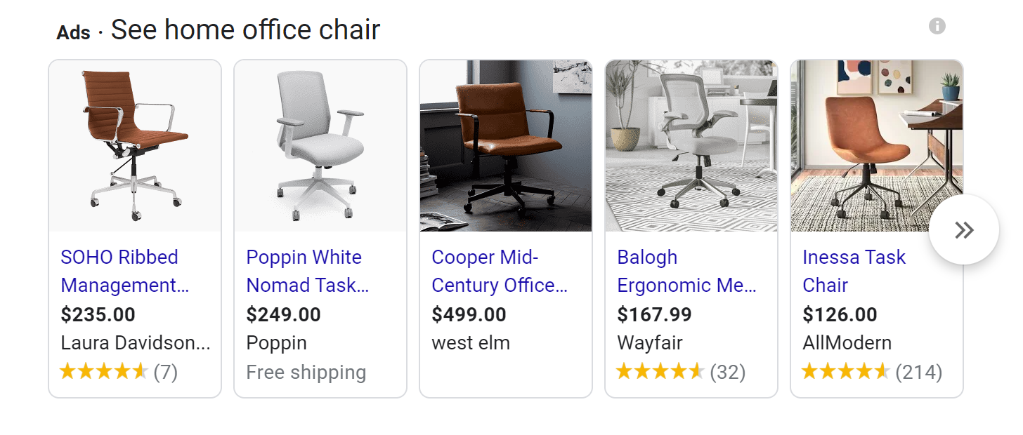 shopping results on serp