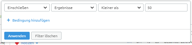 SEMrush Ergebnisse-Filter