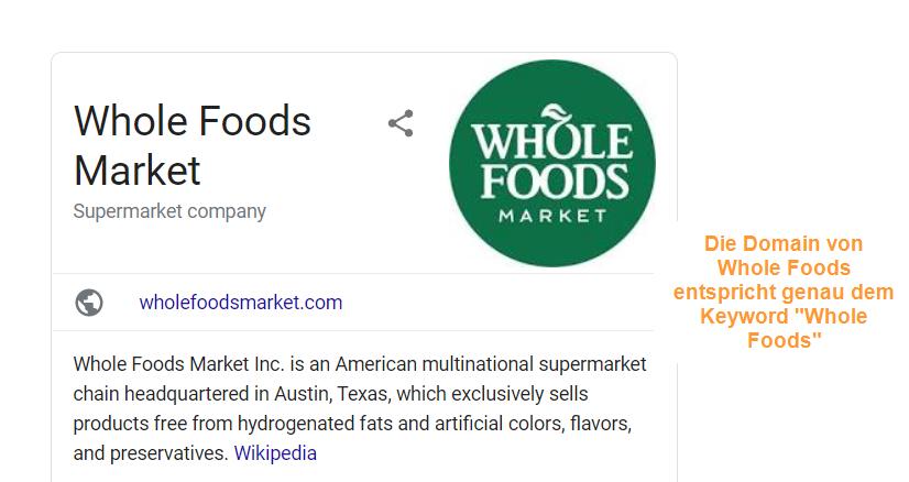 Der Markenname entspricht einem Keyword