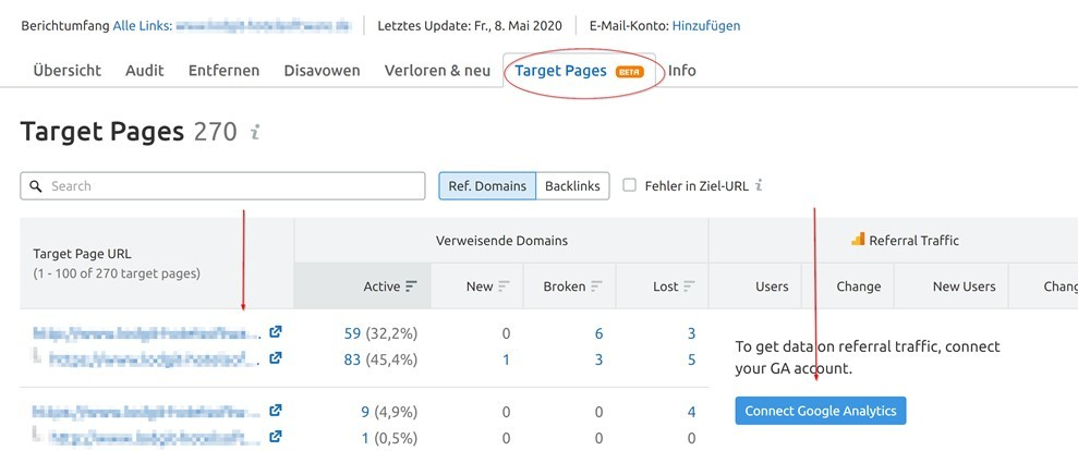 Screenshot: SEMrush Backlink Audit Target Pages