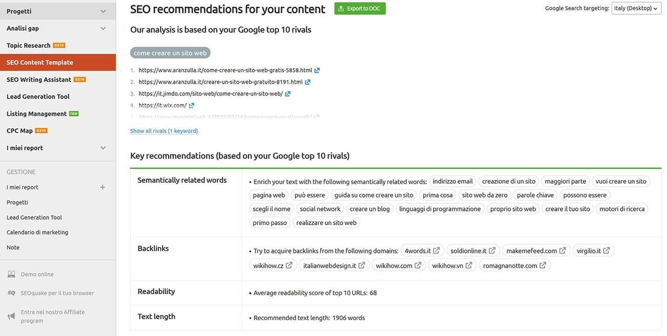 Indicazioni di ottimizzazione di SEO content template