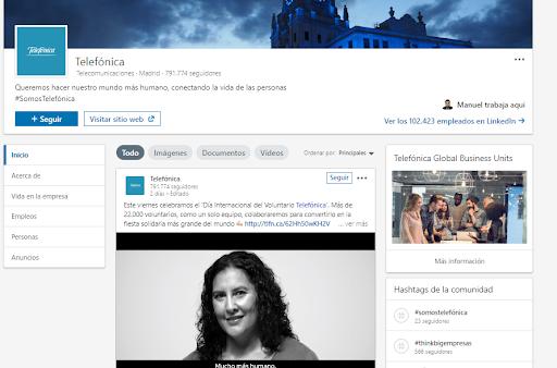 Páginas de empresa en LinkedIn - Ejemplo Telefónica