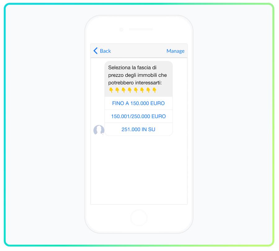 Esempio di chatbot creato con Manychat