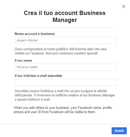 Come creare un account su Facebook business manager