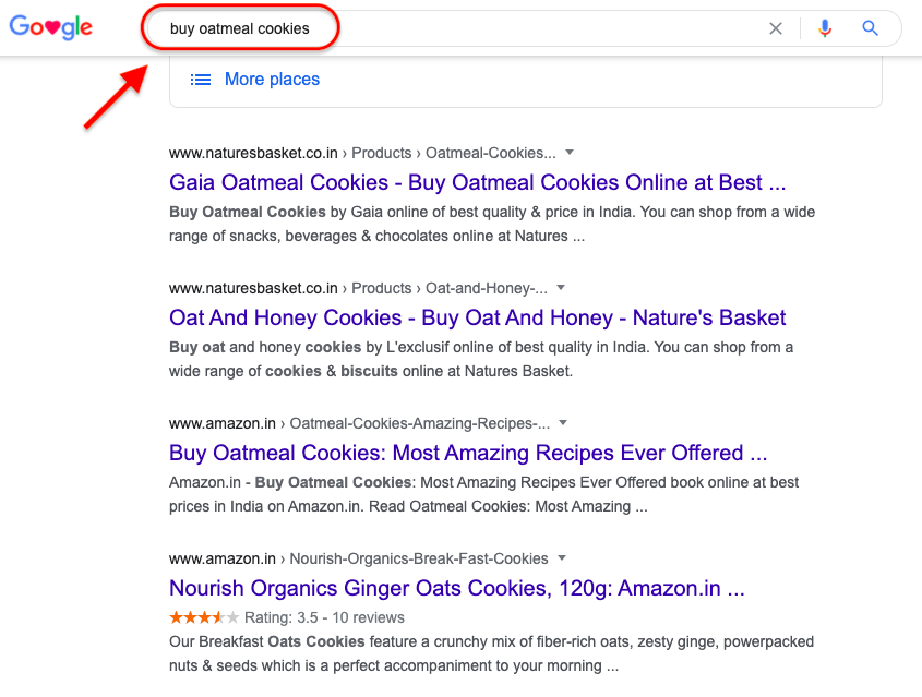 Search Intent Example - Transactional Intent