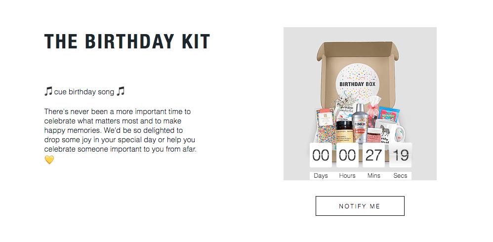 Marketing example of a birthday kit during coronavirus