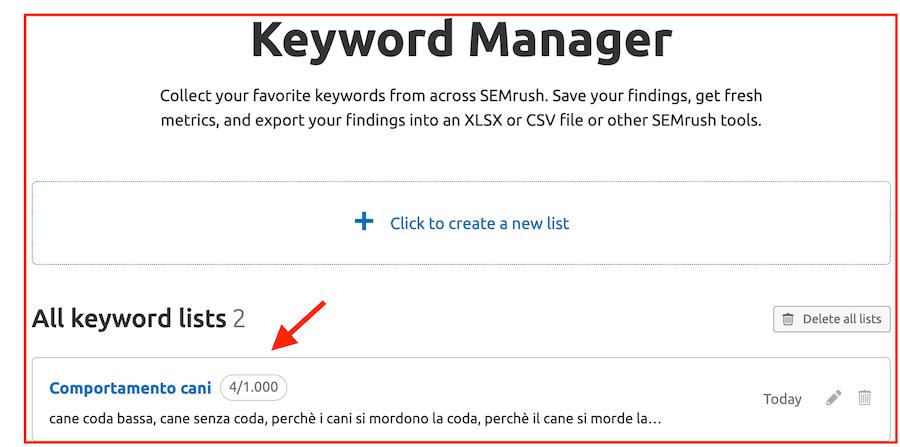 elenchi di parole chiave da approfondire nel keyword manager