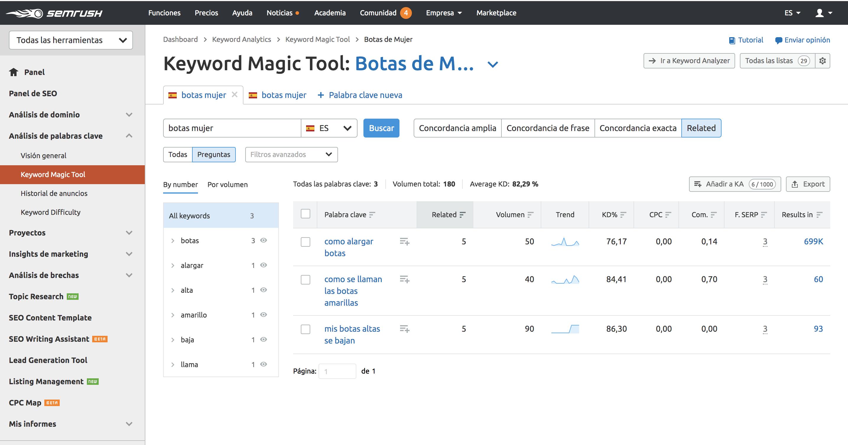 Análisis de keywords - Keyword Magic Tool palabras relacionadas