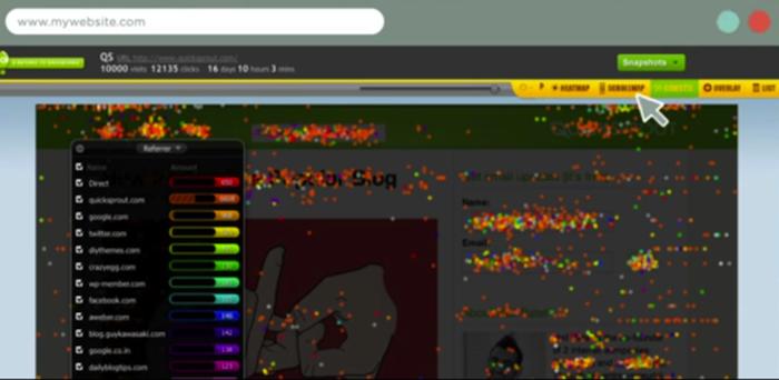 Le zone con più click le visualizzi con il tool Confetti di Crazy Egg