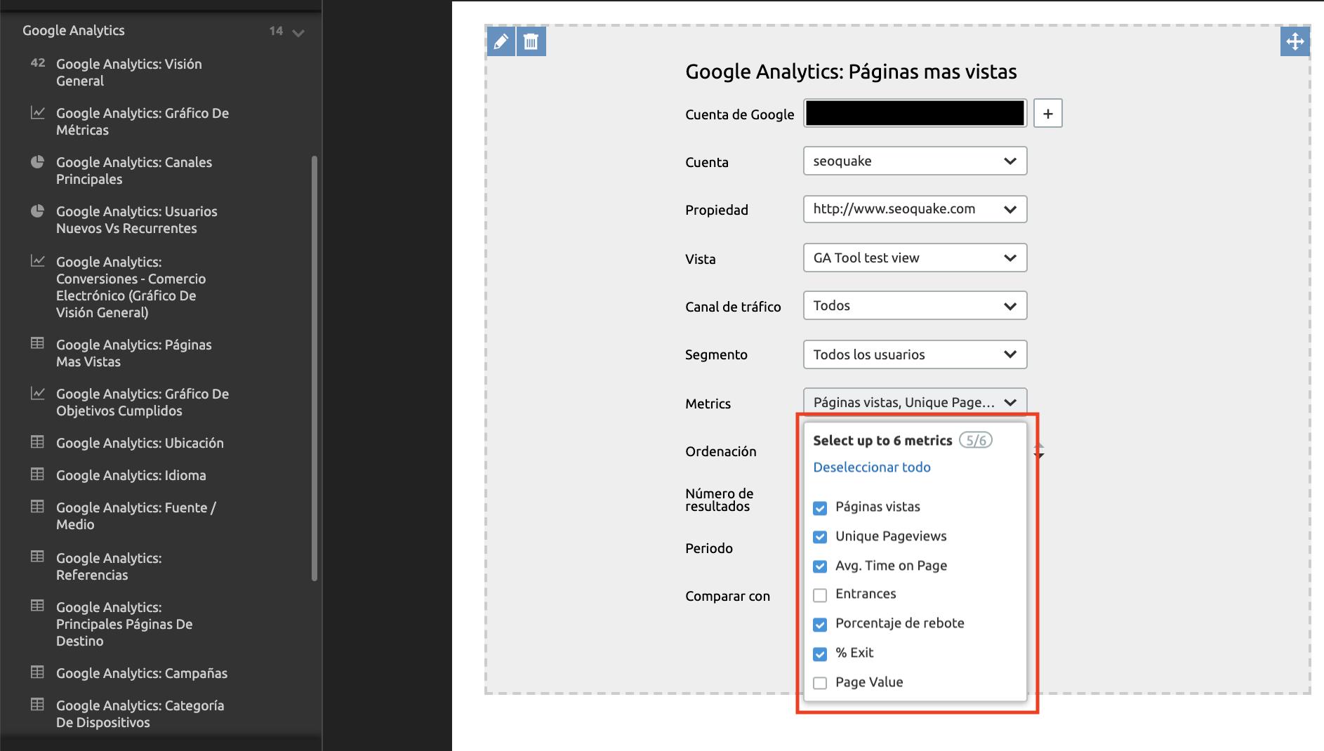 Novedades de SEMrush de octubre 2019 - Widget Google Analytics