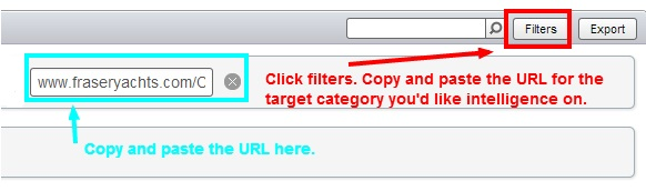SEMrush URL and filter