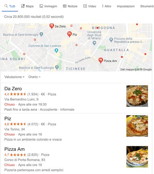 esempio di local pack su google
