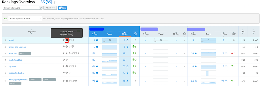 Report AMP di Position tracking.