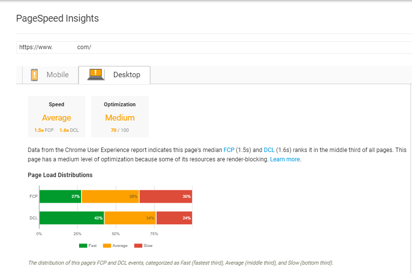 PageSpeed Insights Desktop Performance
