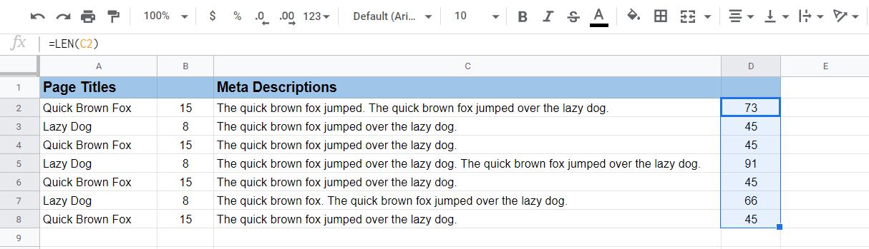 Ejemplo de fórmula LEN en Google Sheets
