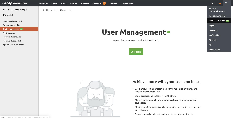 novedades de semrush septiembre gestión de usuarios