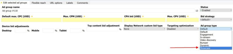 Shopping Showcase Ads support in Google Adwords Editor