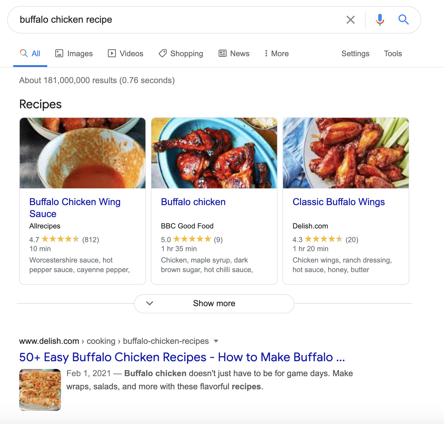 buffalo chicken recipe structured data