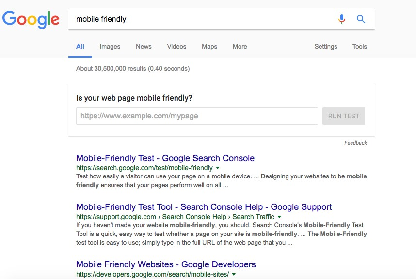 Google AMP test query
