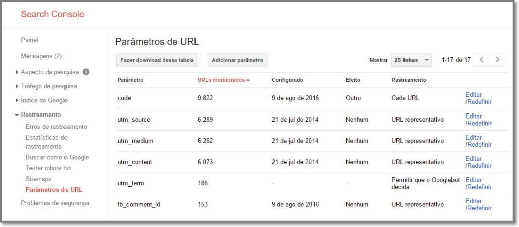 Ajuste os parâmetros de URL quando necessário