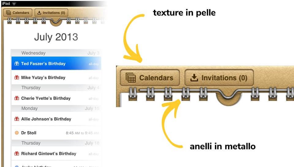 UI dell'app Calendario o delle Note in iOS 6
