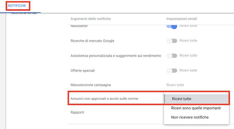 come impostare notifiche per report google ads