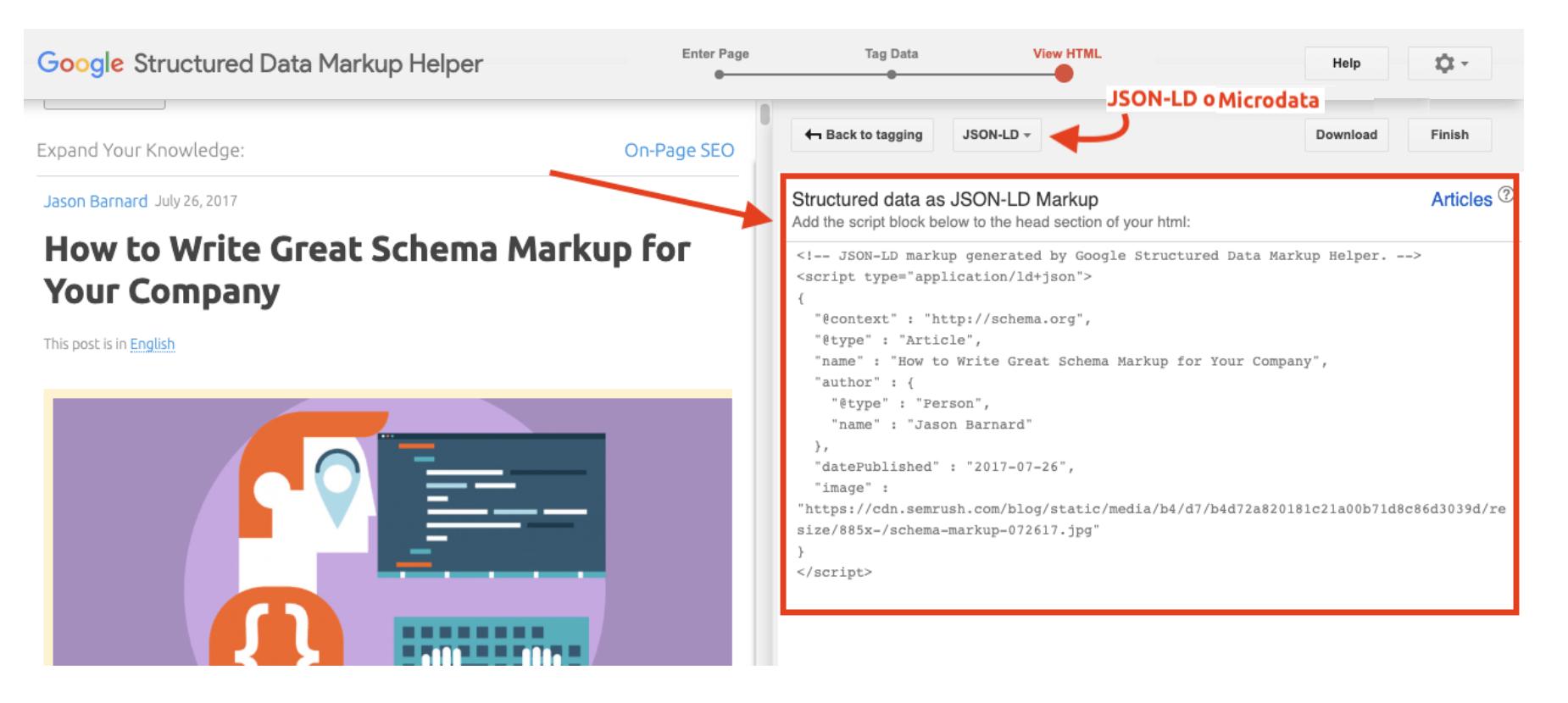 script di codice json che si può incollare per implementare schema