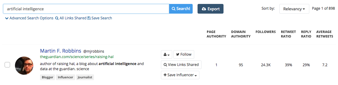 'Influencers' feature - BuzzSumo