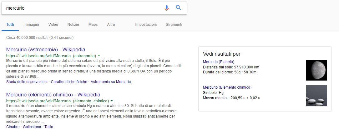 Come funziona la ricerca semantica: la SERP mercurio