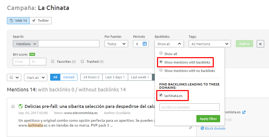 Backlinks competidor principal