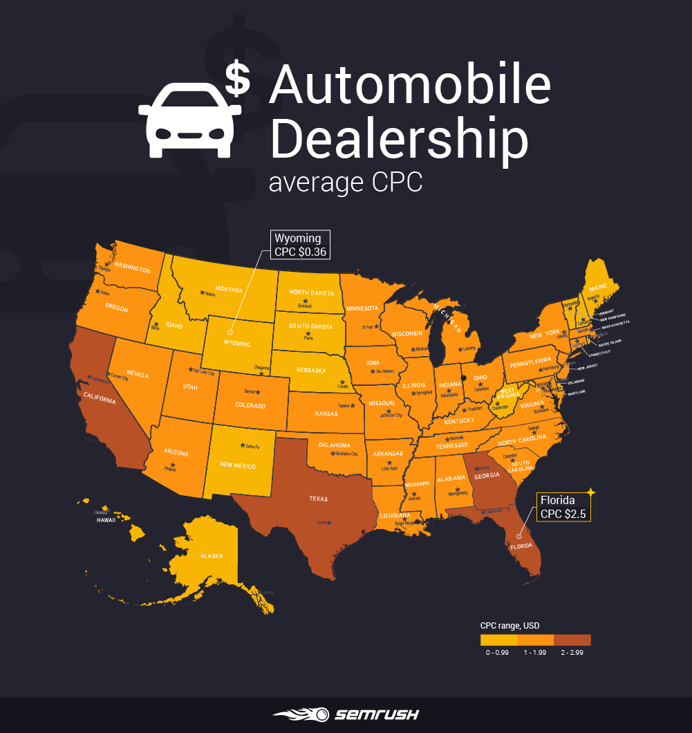 Most and least expensive states to advertise in - Automobile Dealership