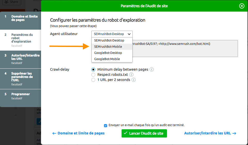 Configuration de l'outil Site Audit de SEMrush