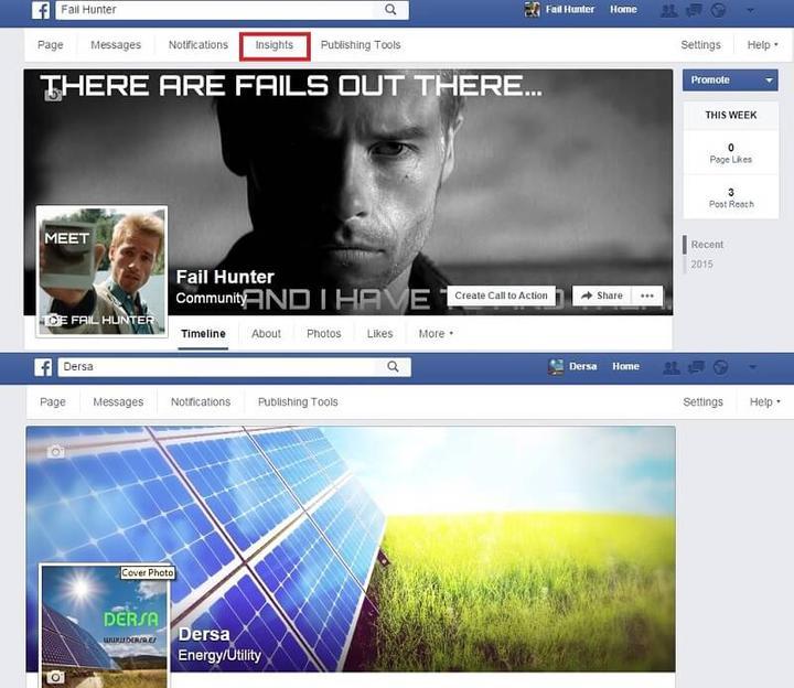 Página de Facebook con Insights