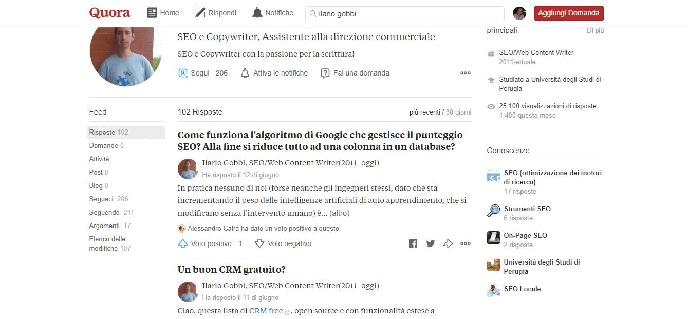 Esempio profilo esperto in Quora Italia