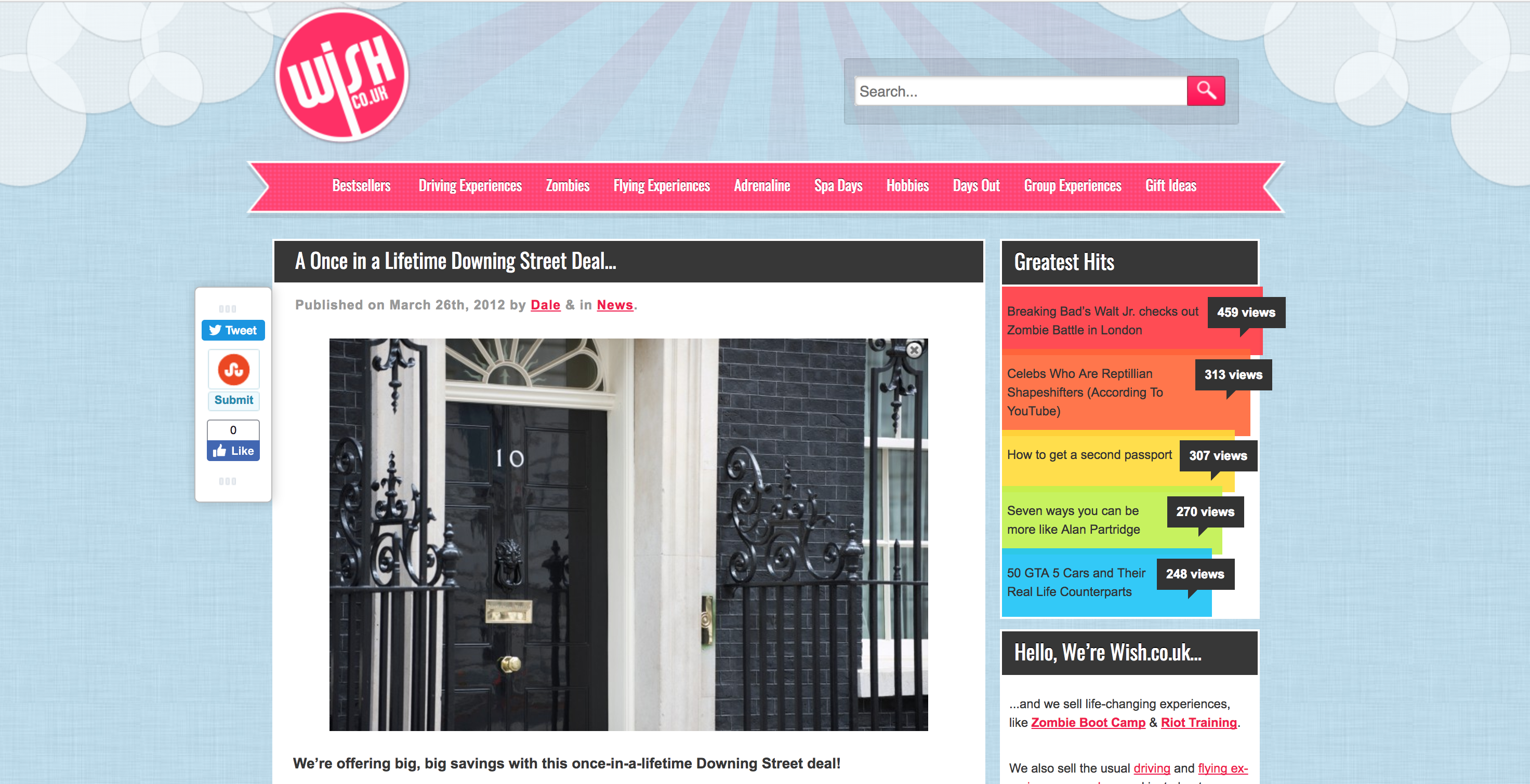 Wish's Once In A Lifetime Downing Street Deal