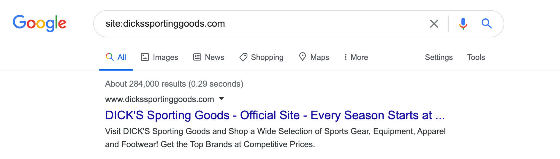 Example of a site search