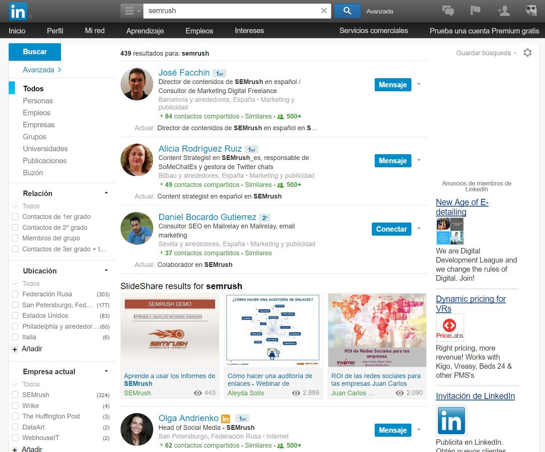 Gente que trabaja en SEMrush LinkedIn