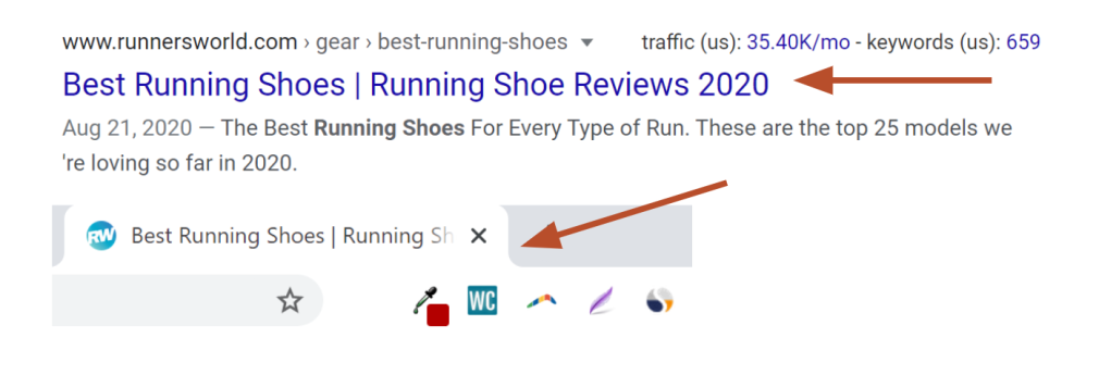 meta title on SERP and on tab