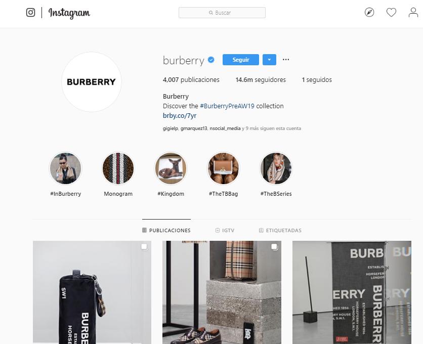 Likes en Instagram - Burberry