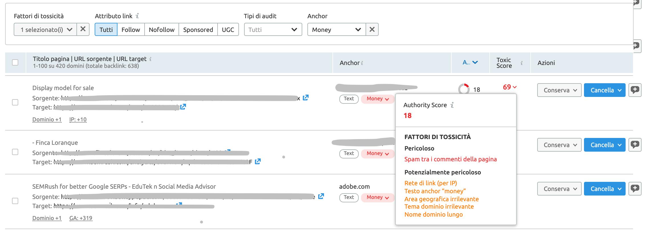 analisi del profilo backlink di un sito web con Backlink audit di semrush
