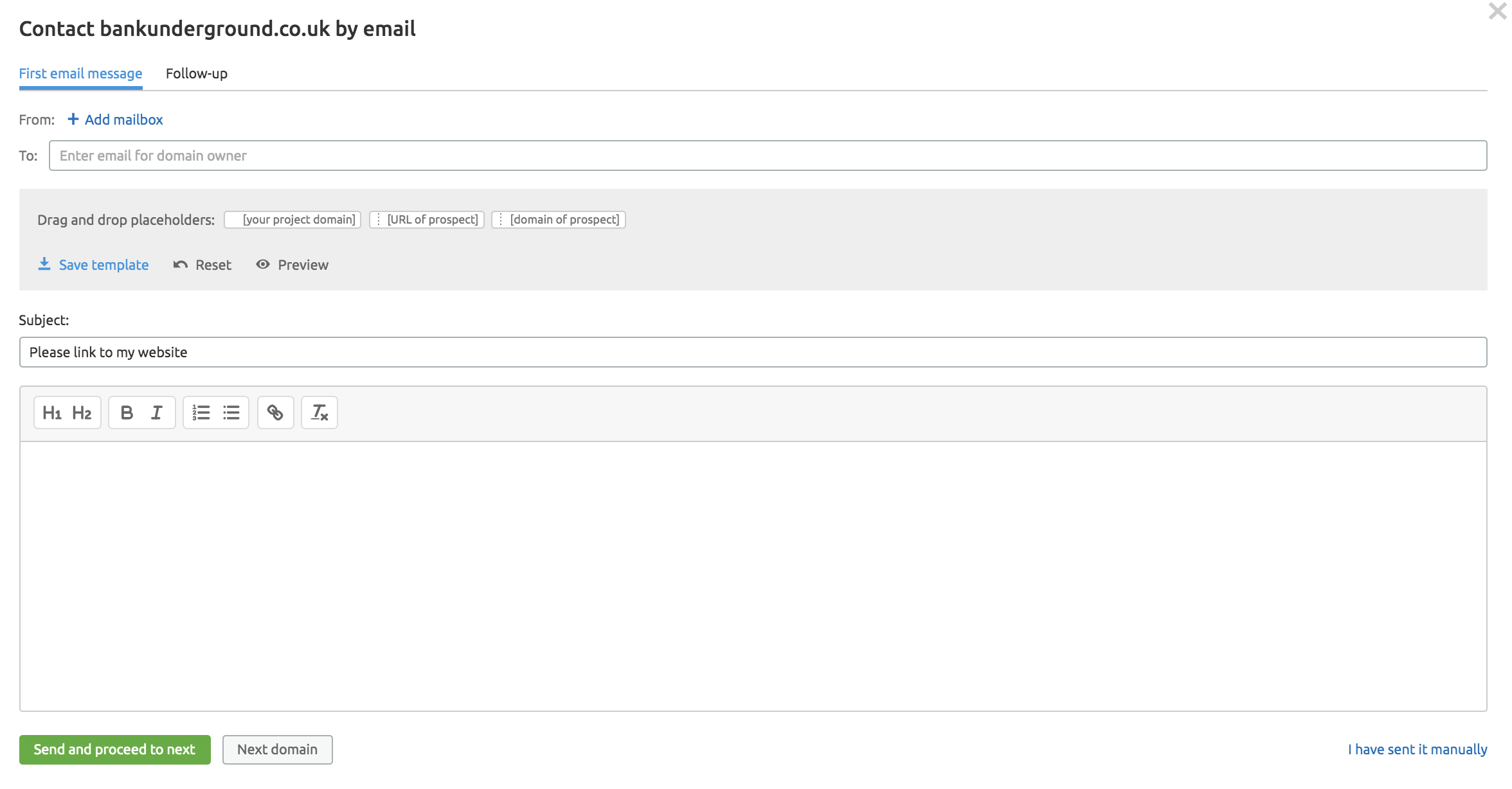 outreach email screenshot