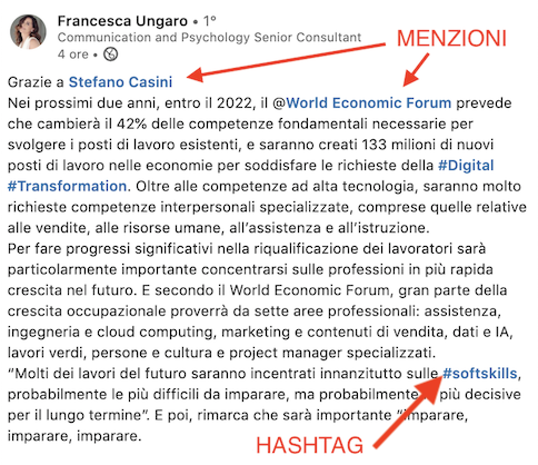 come usare menzioni e hashtag su linkedin
