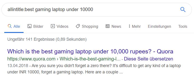Google-Suche mit allintitle