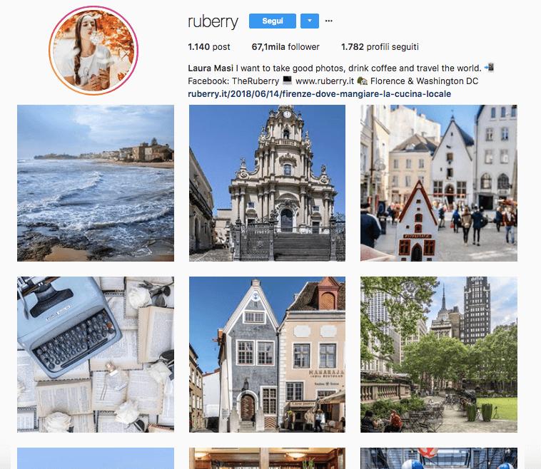 Seguire l'account Instagram di Ruberry