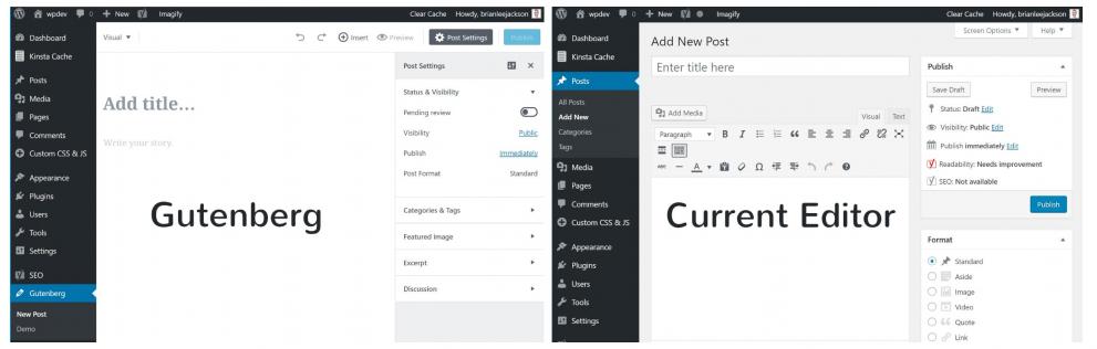 L'editor di WordPress prima e dopo Gutenberg