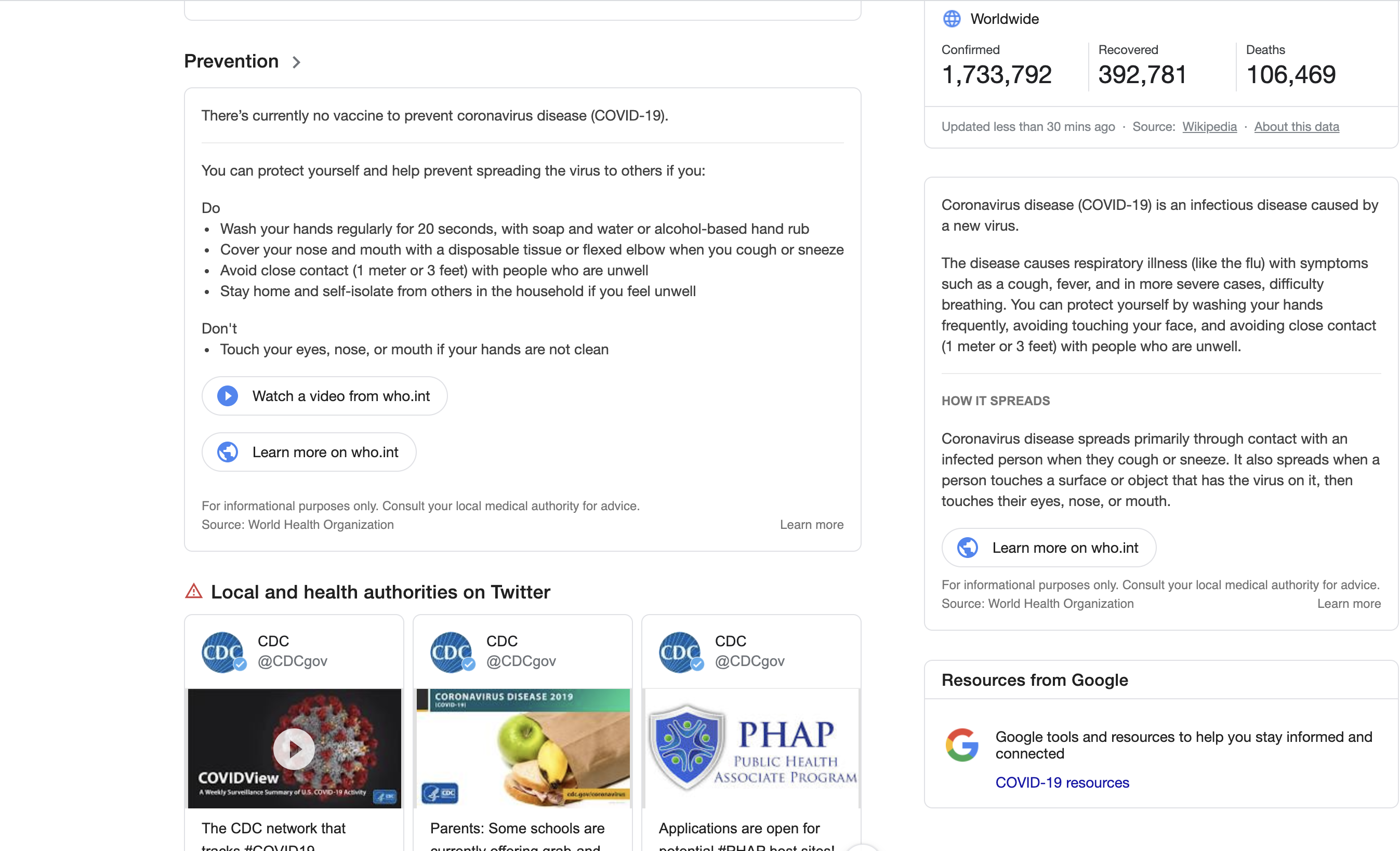 Moree coronavirus information in Google search results as you scroll.