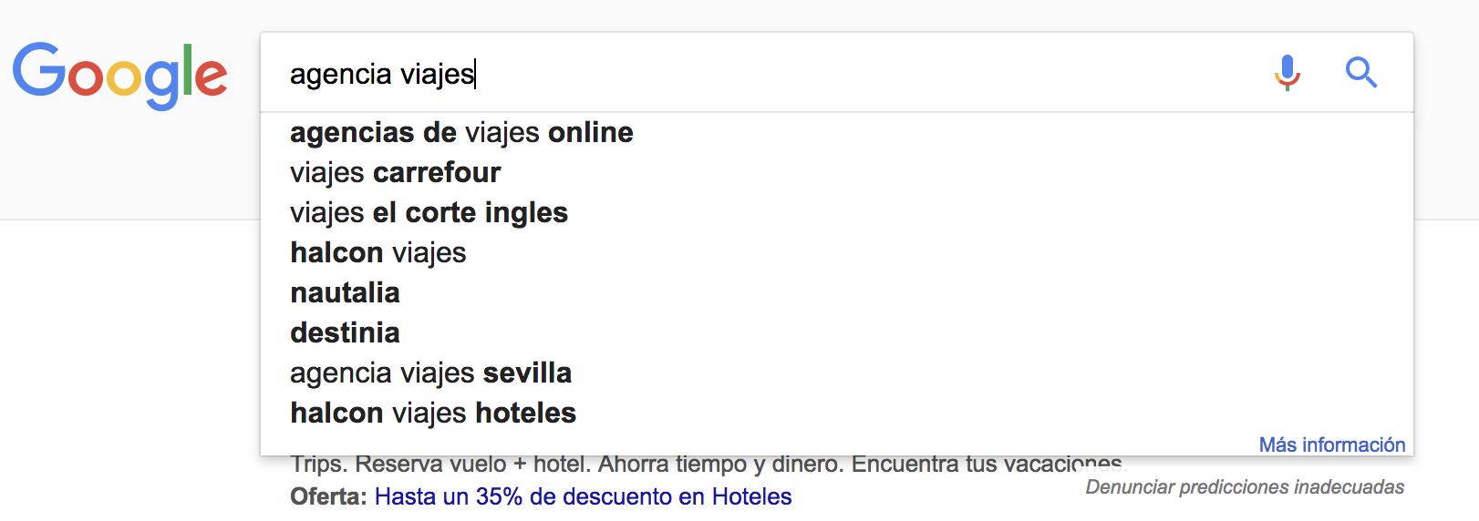 """SEO para agencias de viajes - Otras sugerencias de búsquedas sobre """"agencia viajes"""""""