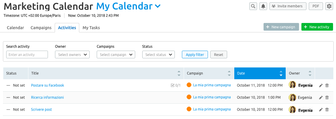 Nella scheda Attività di Marketing calendar il tuo riepilogo