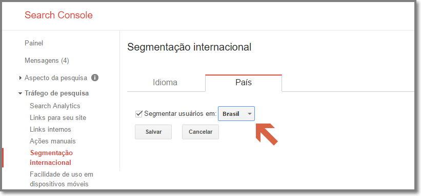 Ajuste a segmentação regional no Google Search Console